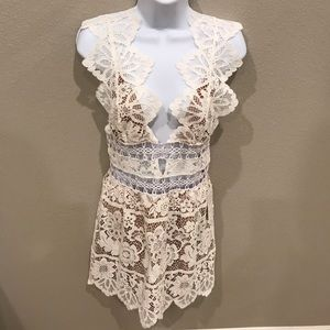 NWT For Love and Lemons White Sexy Mesh Dress